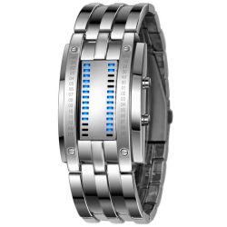 Data de aço inoxidável para homens bracelete LED Digital Relógio esportivo