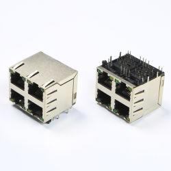 2X2는 8p LED RJ45 PCB 잭 이중 포트 RJ45 연결관을 향한다