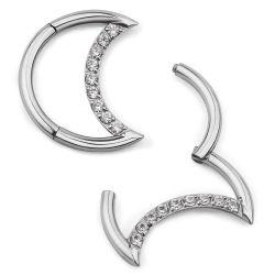 ASTM F136 Titanzinke-Einstellungzircon-gerundeter Mond-geformte Wekzeugspritzen-Ring-Band-Schmucksachen 16g 1.2*8*10*12*14