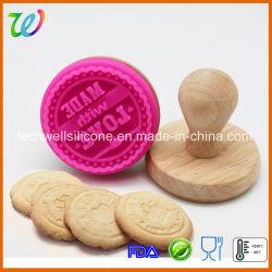 Le caoutchouc de silicone personnalisé de qualité alimentaire Cookie timbre en bois
