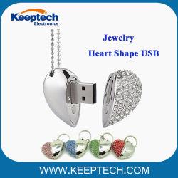 Joyas de diamantes de lujo en forma de corazón una unidad flash USB para regalo