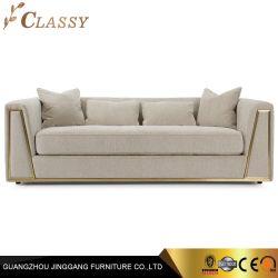 Muebles de hogar el bastidor de acero inoxidable dorado con brazo Loveseat sofá