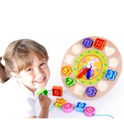 خشبيّة ساعة مزح لعبة لأنّ 1 سنة فوق تربويّ شكل لون رقم فرّاز خشبيّة لعبة لأنّ روضة الأطفال [ببي بوي] بنات مع تخزين لوح
