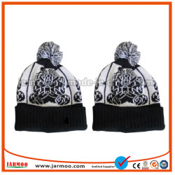 중국 공장 검정 면 니트 베레모 모자 성인을%s 자수에 의하여 뜨개질을 하는 모자 모자 주문 베레모