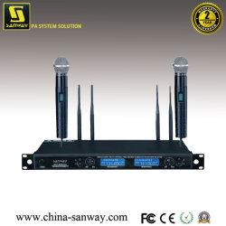 Micrófono de solapa de 2 canales de micrófono inalámbrico, auriculares (K-820)