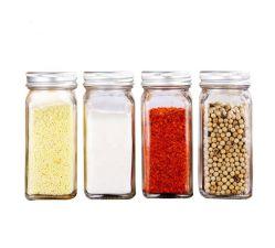 4oz 120ml français de forme carrée en verre avec couvercles métalliques des pots à épices&Shaker avec couvercle à vis, le verre bouteille d'assaisonnement de pots, la verrerie