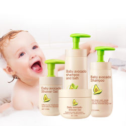 El cuidado del bebé 100% Natural Extracto de aguacate Aceite de productos para bebés/// Body Wash Shampoo Crema de cuidado de piel de bebé conjunto