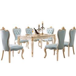 Mayorista de hogar fábrica de muebles mesa de comedor con sofá de cuero sillas