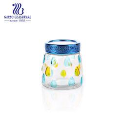 Jarra de armazenamento de vidro de cor personalizada com tampa do vaso (GB21020850ED-JP2)