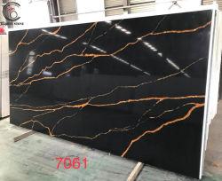 Замечательные черного мрамора Calacatta кварцевый камень с золотым вен на рабочей поверхности