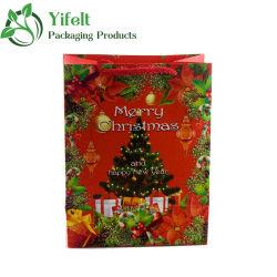 Joyeux Noël personnalisée de l'artisanat Les sacs en papier avec des poignées, Shopping/Emballage/sac cadeau, Recyclable sacs de papier kraft, parti favorable