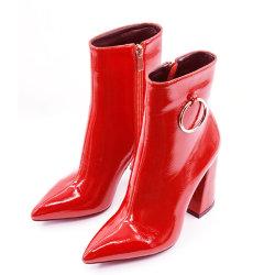 Salientou mulheres Toe Zip Stiletto saltos altos Dress Up Botas de tornozelo
