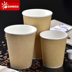 처분할 수 있는 물결 모양 주문 로고 디자인에 의하여 인쇄되는 잔물결 벽 최신 서류상 커피 잔
