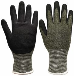 13のゲージの切抵抗はさみ金の安全手袋、塗られるサンディのニトリルタッチ画面