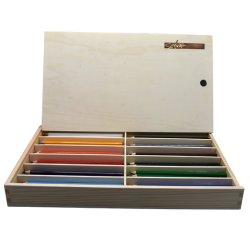 """전장 7개의 """" 나무 상자에 있는 고품질 6각형 Fsc 나무 12 연약한 지도에 의하여 착색되는 연필"""
