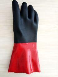 Heiße Farben-beschichtete langes Sicherheits-Hülsen-Baumwollzwischenlage Kurbelgehäuse-Belüftung des Verkaufs-zwei Industrie-Arbeits-Handschuh mit Abnützung und chemischem Widerstand