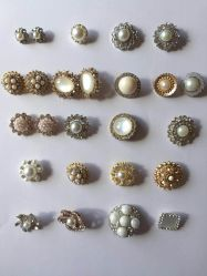 Ropa de moda accesorios de cristal de la Perla de metal de rosca el botón de decoración para la prenda de vestir