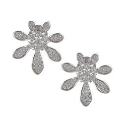 Form-Schmucksache-Blumen-Entwurfs-Schmucksachen 925 Sterlingsilber-Diamant-Ohrringe