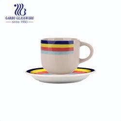 Groothandel Goedkope hand geschilderd OEM kleurrijk keramisch thee Cup Porselein Set koffiemok en saucer