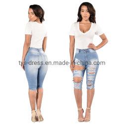 Comercio al por mayor Skinny Jeans de la piel rasgada hoyos cortos Shorts ajustados Jeans