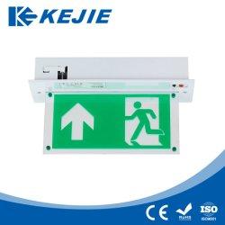 Cartello di uscita di emergenza a LED a due lati ricaricabile montato sul soffitto Segnali di uscita LED
