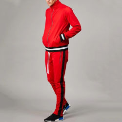 GroßhandelsStreetwear Sport nimmt den befestigten Mens-Trainingsnazug ab, der in Rot eingestellt wird