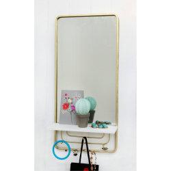 مرآة معدنية ذات رف وكلاّبات 28X60X11سم، مرآة معدنية للحائط