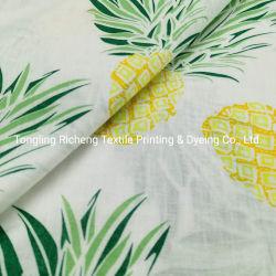 Tecido de linho em algodão Blended para Garment Tropical Plants Digital Printed Linho rami algodão pano misto padrão de design personalizado