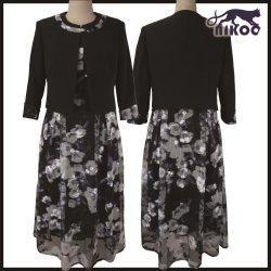 Personalizar el tamaño más la impresión en negro vestido de bola de la boda de la Madre de la falda de la novia vestidos de fiesta de noche