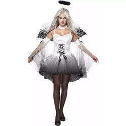 A lingerie sexy Mascote de fatos do Dia das Bruxas Adulto fantasias de Carnaval Alimentação Parte Traje anjo branco