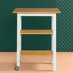 Cucina di base domestica 3-Tier tutto il carrello di a microonde di rotolamento di legno solido sul carrello della cucina delle rotelle