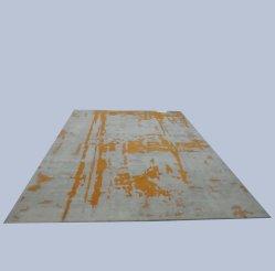 黄色いEropeの北のカーペットおよび敷物および灰色の床の絹