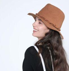 Womens Fashion 100 ٪ المعاد تدويرها Wool Floopy Fedora قبعة مع مضفر شعر الحزام