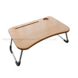 Dobrável ajustável para notebook de bambu de turismo com porta-copos
