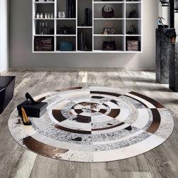 Fußboden-Wohnzimmer-Teppich-Bereichs-Wolldecke-lederner Patchwork-Wolldecke-Leder-Teppich für Haus