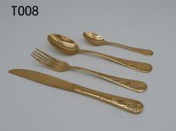 Kleur Wigh Gouden T008 van uitstekende kwaliteit van het Bestek van het Diner van het Roestvrij staal de Vastgestelde