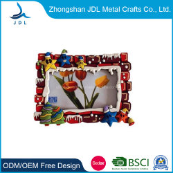 Commerce de gros 3D en PVC souple de Noël de promotion/caoutchouc Fridge Magnet Photo Picture Frame (021)