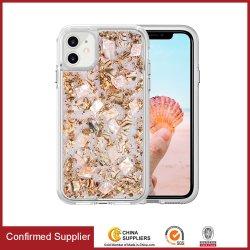 Novíssimo cintilantes Foil The Seashell Real Celular Caso Pearl Casca Sparkle OEM para iPhone 11 PRO Max