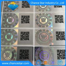 ملصق رقائق معدنية ثلاثية الأبعاد مصنوع بشكل مخصص لمكافحة التزييف مع QR الرمز