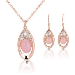 プロモーションギフト卸売 2018 Top Design ウィメンズファッションジュエリーアクセサリー 結婚式のイヤリングの方法女性ピンクの水晶宝石類セット