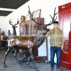 Precio mayorista ciervo estatua de bronce de tamaño de la vida para jardín