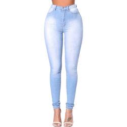 Beunruhigte Denim-Jeans der hohe Taillen-dünnen Frauen mit blauer Farbe