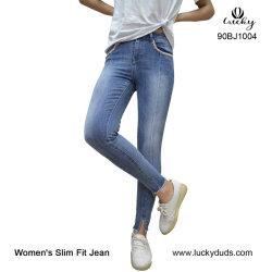 Голубой промойте Distroyed бедствующего растянуть дамы Skinny джинсы