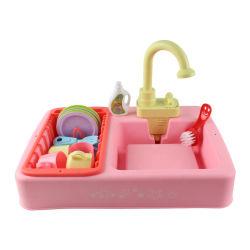 Rosa mayorista pulverizando agua lavavajillas utensilio Play Set juguetes educativos Mini Piscina de plástico pequeño lavabo Lavabo palo