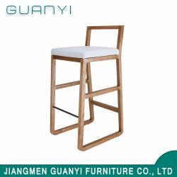 Siège en cuir blanc / PU unique chaise haute jambes Tabouret de bar en bois des bases