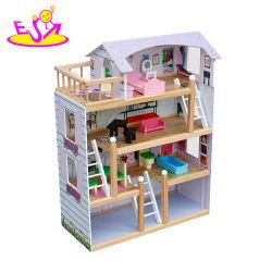 Migliori 4 kit di legno lussuosi del Dollhouse dei bambini dei pavimenti con il garage W06A238