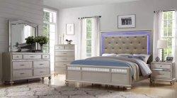 침실 세트에는 LED 조명이 있는 목재 침실