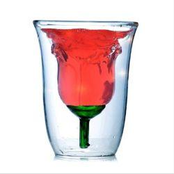 Commerce de gros Creative Rose Double-Layer Verre à eau haute en verre borosilicaté résistant aux hautes températures et de brûlures preuve verre verre à cocktail