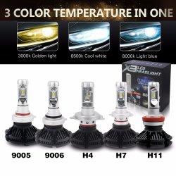 المصباح الأمامي غير ذي مروحة الضوء العالي طراز X3 H4 9004 9007 H13 H7 استبدال المصابيح الأمامية بمصابيح LED لاستبدال السيارة