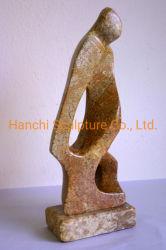 Scultura di pietra di marmo gialla, scultura della decorazione dell'hotel & del giardino, sosta & via & decorazione della Camera, intaglianti la pietra della scultura